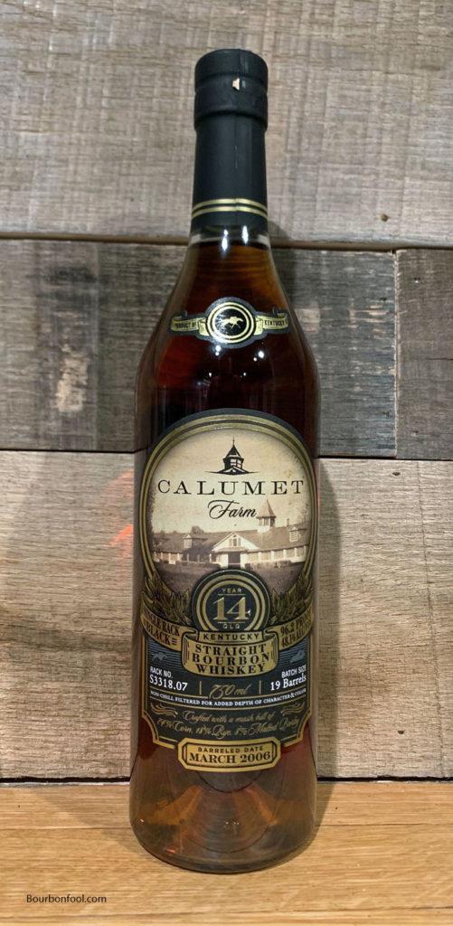 Bottle of 14 year old Calumet Farm Bourbon