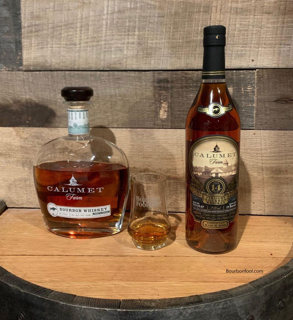 two different bottles of Calumet Farm Bourbon