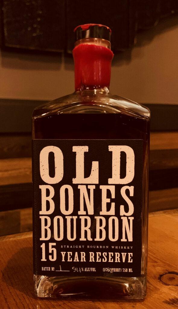 Bottle of Old Bones Bourbon