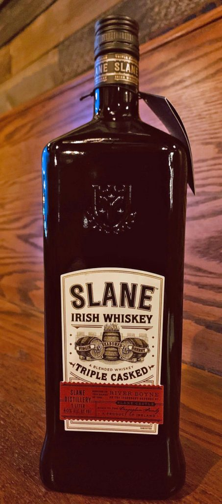 A bottle of Slane Irish Whiskey