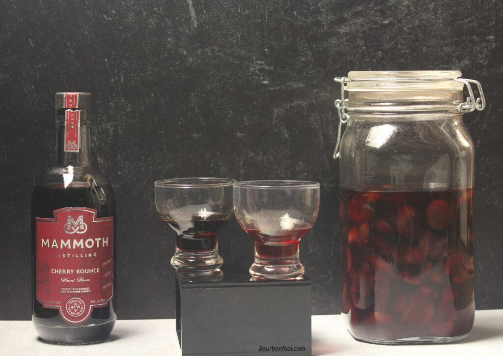 Straight rye whiskey and cherry bounce. A look at Mammoth Distilling and Bourbonfool cherry bounce.
